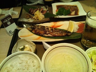 20111115 12夕食鯖塩焼き定食@文治.JPG